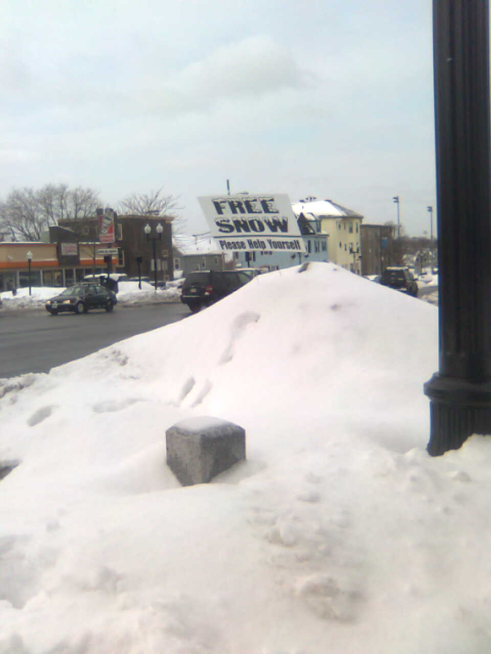 """Sign advertising """"Free Snow"""" atop a snow pile"""