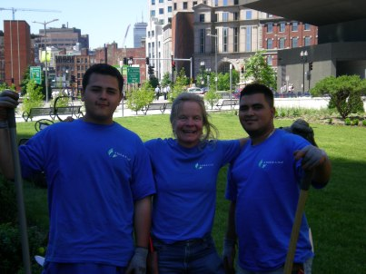 Gardening crew volunteering ay the Rose Kennedy Greenway