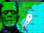 weather map with Frankenstein face