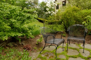 garden seating area in spring
