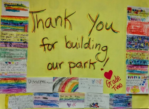 "poster from 2nd grade class saying ""thank you for building our park!"""